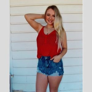 Red Knit Embossed Tank Top